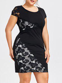 Plus Size Cap Sleeve Vestido Bodycon - Preto 5xl
