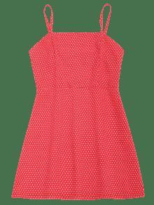 Cami De Dot Rojo Polka Vestido M Verano HwO6q