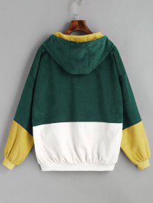 Hot 2019 Hooded Color Block Corduroy Jacket In Deep Green M Zaful