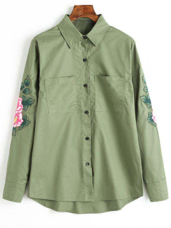 Camicia Patch Ricamata Floreale Button Up - Verde Dell'esercito L