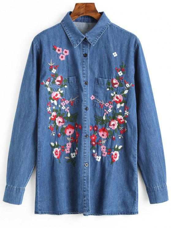 lady Button Up Floral Embroidered Denim Shirt - BLUE L