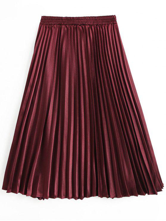 new High Waist Pleated Skirt - WINE RED L