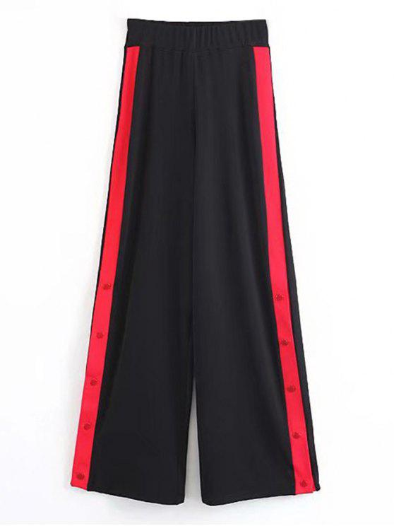 shop Contrast Snap Button Wide Leg Pants - BLACK S