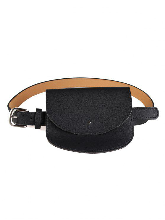 trendy Mini Bag Decoration Faux Leather Waist Belt - BLACK