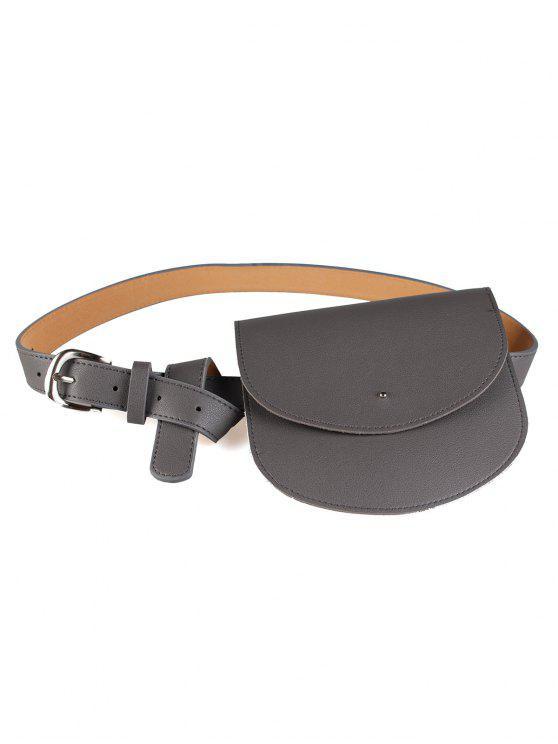 chic Mini Bag Decoration Faux Leather Waist Belt - GRAY