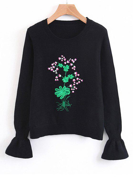 outfit Flouncy Sleeve Floral Embroidered Sweater - BLACK ONE SIZE