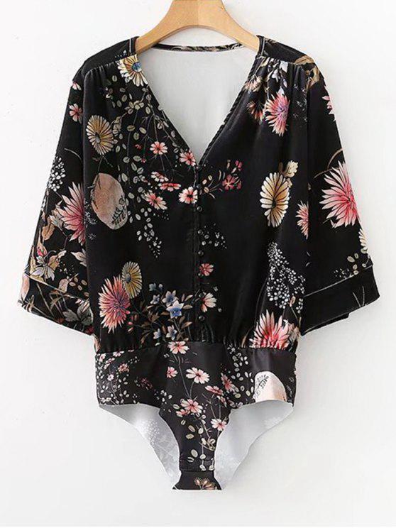 Body Floral en velours mi-boutonné - Noir L