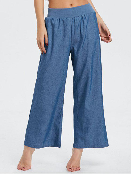 shops Elastic Waist Denim Wide Leg Pants - BLUE 2XL