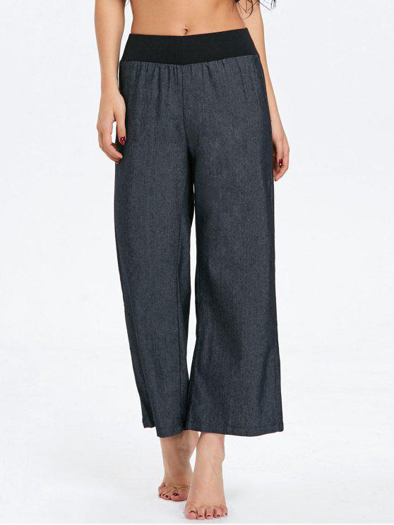 Elastische Taille Denim Wide Leg Pants - Schwarz XL