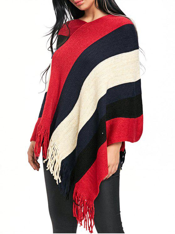 Fringe Color Block V Neck Poncho Sweater RED: Sweaters ONE SIZE ...