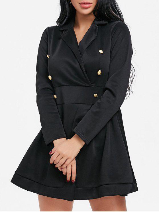 Mini abito a manica lunga con bottone a bavero e risvolto - Nero XL