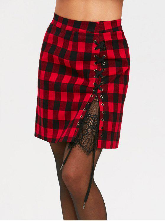 عالية الخصر كريسس الصليب لوحة الدانتيل الترتان تنورة - أسود أحمر S