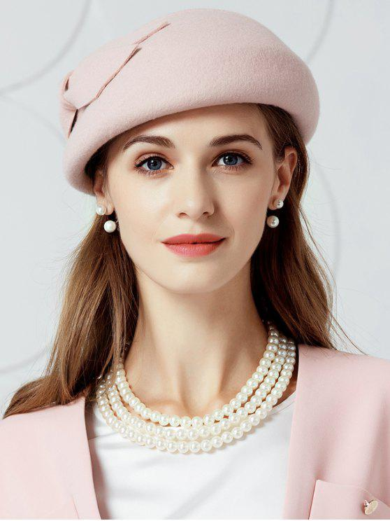 5e64c50957a30 60% OFF  2019 Vintage Bowknot Decorated Faux Wool Beret In PINKBEIGE ...