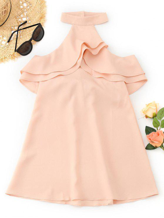 outfits Cold Shoulder Ruffles Backless Mini Dress - PINKBEIGE M