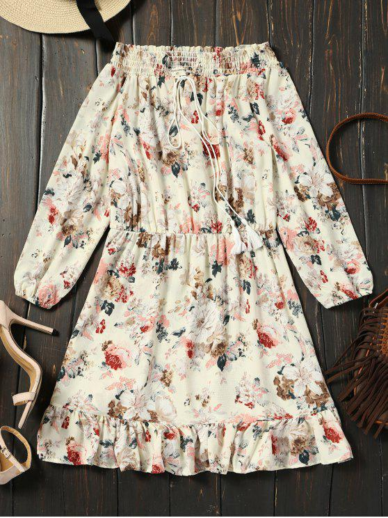 trendy Off Shoulder Floral Print Ruffle Hem Dress - FLORAL M
