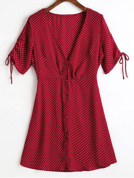 affordable Button Up Chiffon Polka Dot Mini Dress - WINE RED S