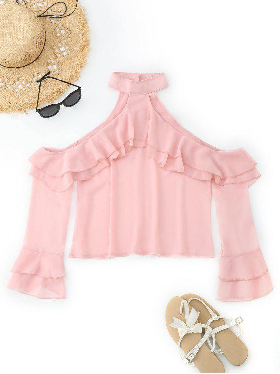 fancy Cold Shoulder Ruffles Tiered Sleeve Blouse - PINK L