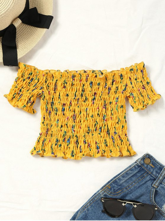 d873e41d09c3 14% OFF  2019 Smocked Tiny Floral Off Shoulder Top In YELLOW