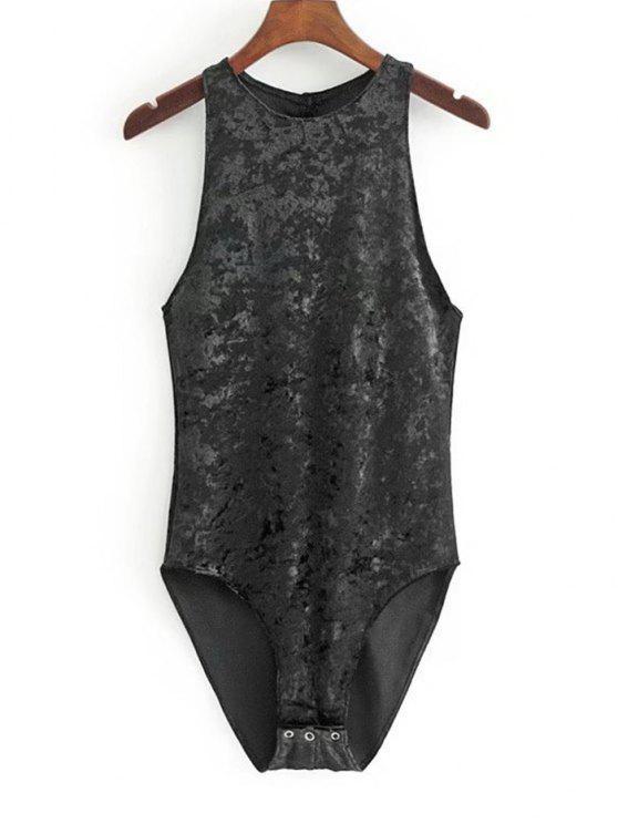 fashion Racerback Crushed Velvet Bodysuit - BLACK S