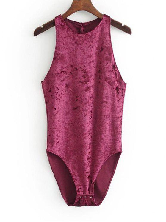 lady Racerback Crushed Velvet Bodysuit - PURPLISH RED M