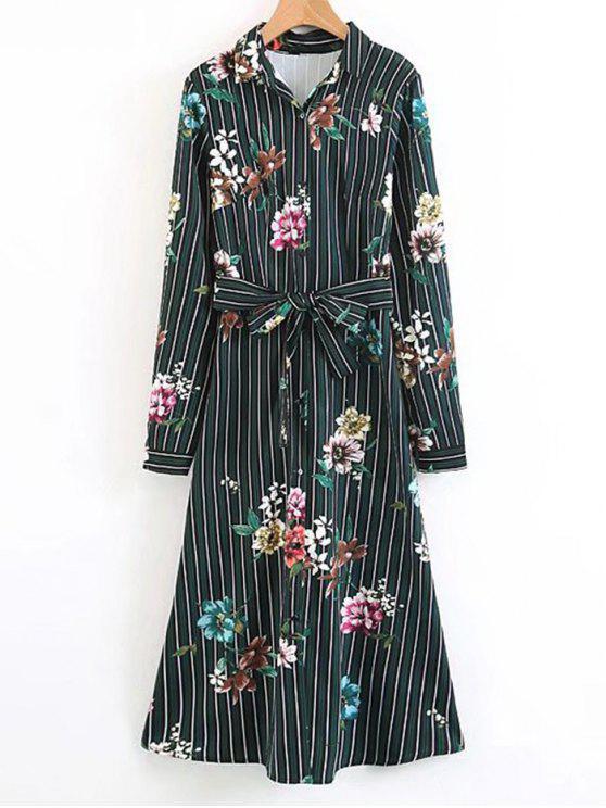 women Long Sleeve Floral Stripes Midi Dress - DEEP GREEN M
