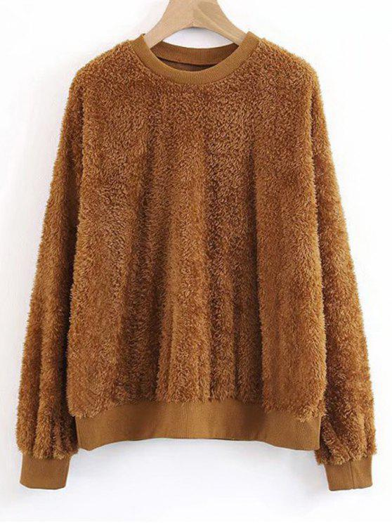 best Shearling Textured Sweatshirt - BROWN S