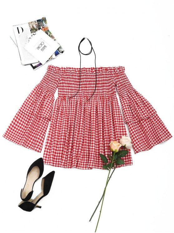 فستان مصغر بلا اكتاف متدرج الأكمام سموكيد - أحمر M