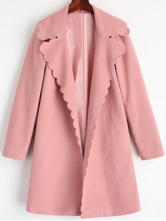 hot Scalloped Open Front Lapel Coat - PINK L