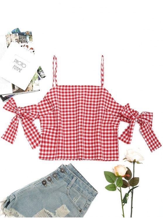 Blusa Quadriculada de Ombro Caído com Fenda nas Costas - Vermelho L
