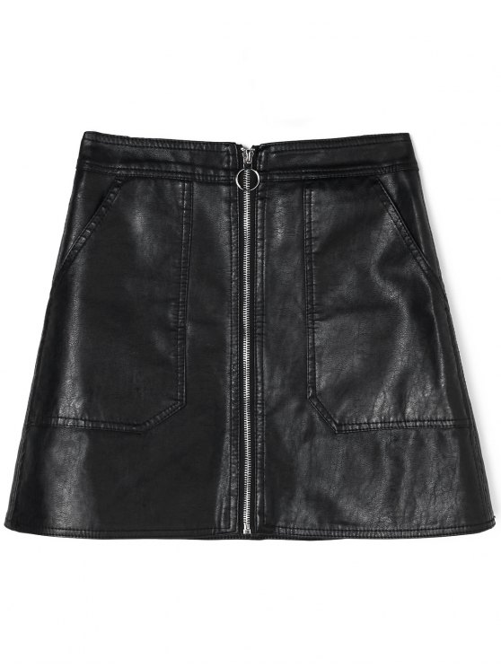 search for genuine buy real fresh styles Zipped PU Leather Skirt with Pockets BLACK