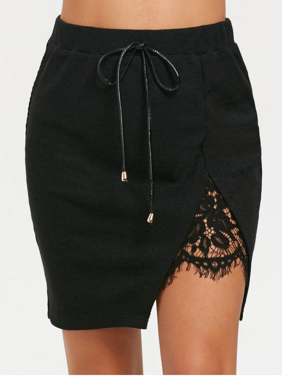 fashion Split Lace Panel High Waisted Short Skirt - BLACK 2XL