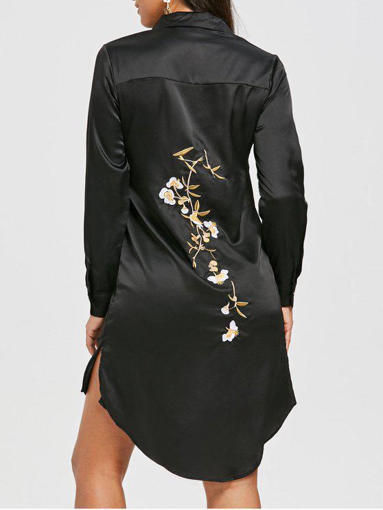 Noir Chemise Robes Fendue Bas Haute Zaful Casual Robe Brodée M dO71wq6wX