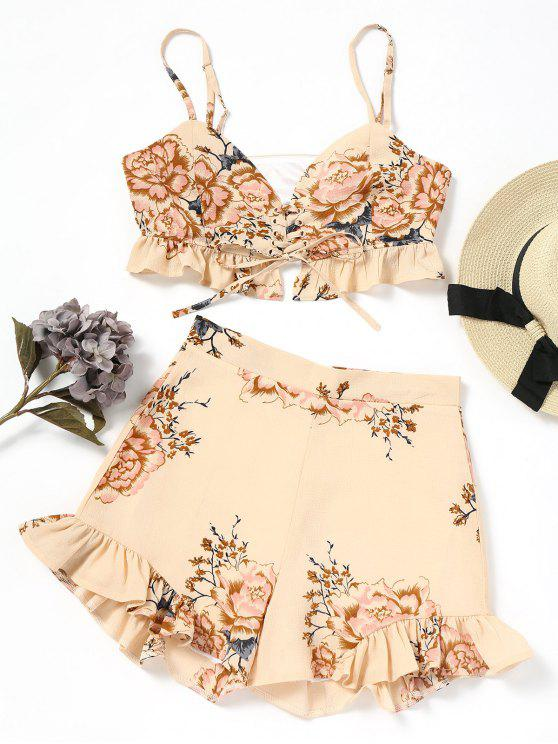 hot Lace Up Floral Top and Shorts Set - FLORAL M