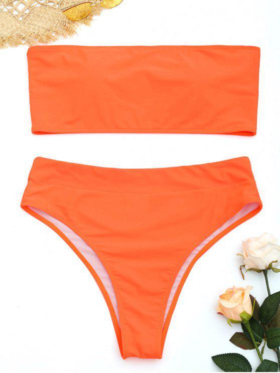 women's Plus Size High Cut Bandeau Bikini Set - FLUORESCENT ORANGE XL