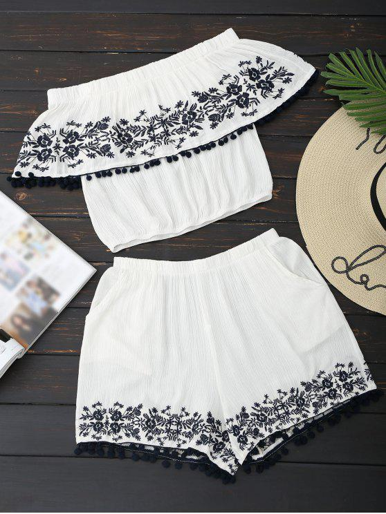 outfits Off Shoulder Floral Top and Shorts Set - WHITE M