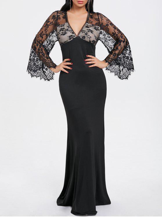 1c5c700fd46e 27% OFF  2019 Lace Trim Maxi Evening Dress In BLACK