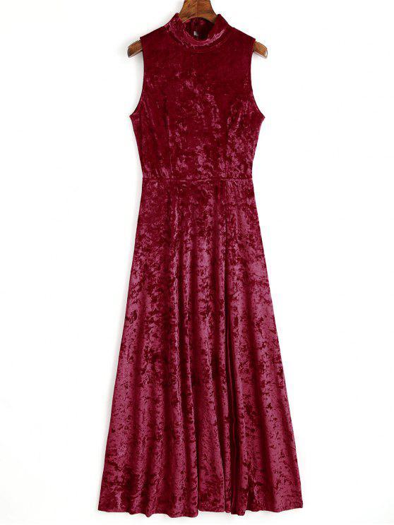 latest Open Back High Slit Velvet Maxi Dress - WINE RED M