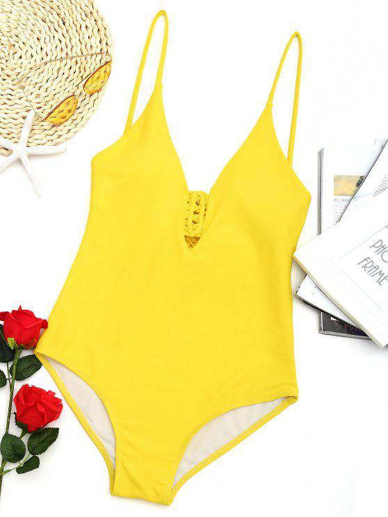 لباس سباحة من قطعة واحدة مزين بالمكرامي - الأصفر XL