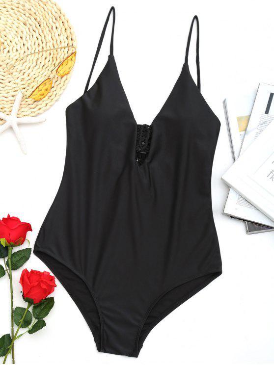 لباس سباحة من قطعة واحدة مزين بالمكرامي - أسود M