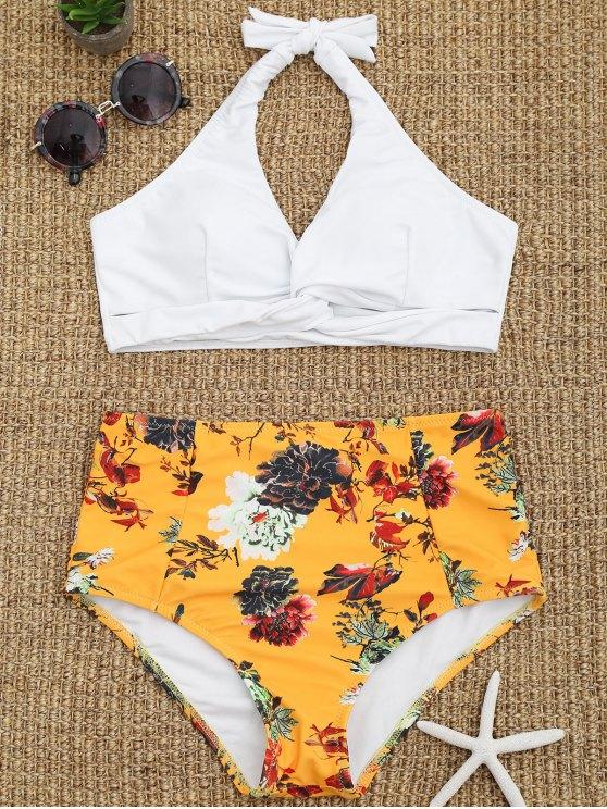 Biquini de Top com Detalhe Entrecruzado e Calcinha Floral de Cintura Alta - Branco S