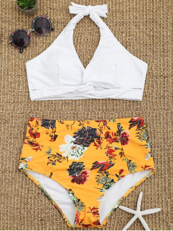 f31a41e344827 12% OFF] 2019 Floral Twist Front High Waisted Bathing Suit In WHITE ...