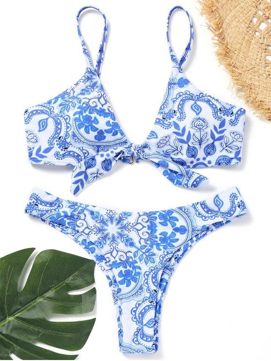 Ensemble Bikini Imprimé Porcelaine - Bleu et Blanc M