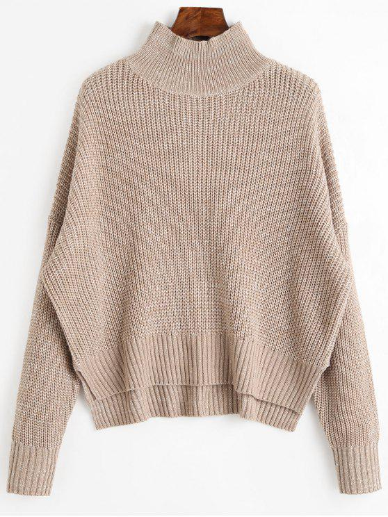 affordable High Neck Side Slit Chunky Sweater - LIGHT KHAKI ONE SIZE