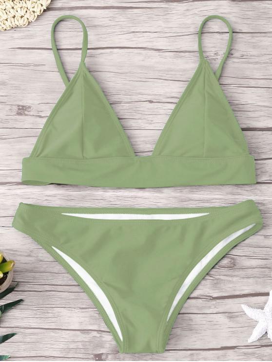 trendy ZAFUL Padding Bikini Set - PEA GREEN S