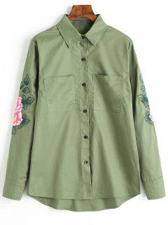 Button Up Floral Embroidered Patch Shirt - Army Green S