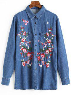 Button Up Floral Embroidered Denim Shirt - Blue S