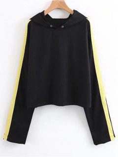 Open Sleeve Ribbons Trim Hoodie - Black S