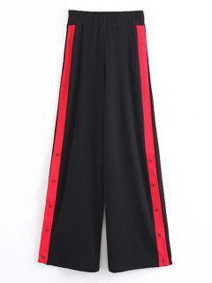 Contrast Snap Button Wide Leg Pants - Black L