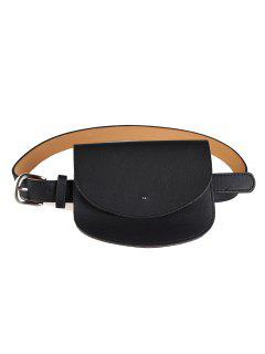 Mini Bag Decoration Faux Leather Waist Belt - Black