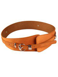 Metal Round Buckle Decorated Wide Waist Belt - Chocolate